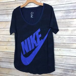Nike shirt Swoosh navy blue size large athletic